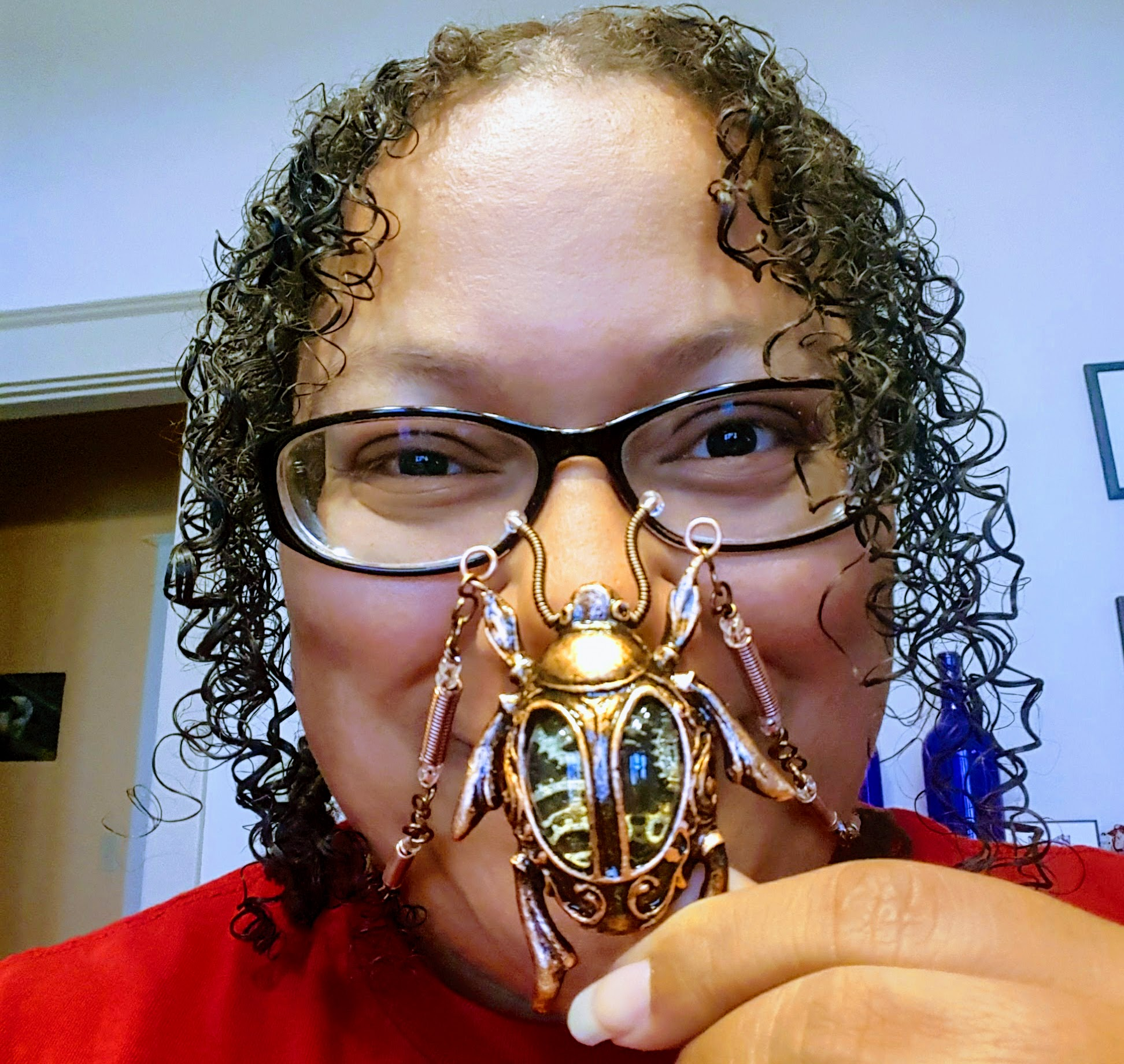 Me with the steampunk scarab necklace I got for the con