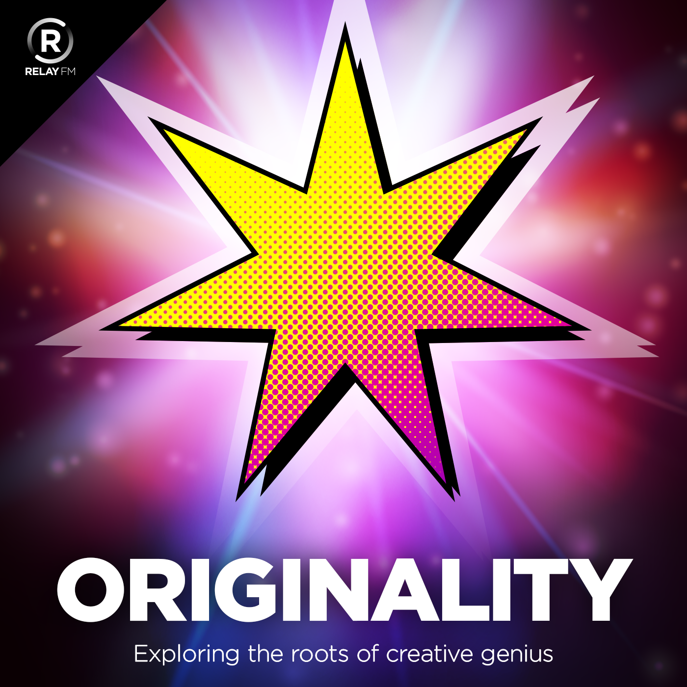 Podcast logo for Originality which has a 7 pointed star in pink and yellow with a dark pink and black background and the words Originality exploring the roots of creative genius