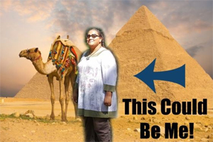 Tempest standing in front of pyramids and a camel with text This Could Be Me