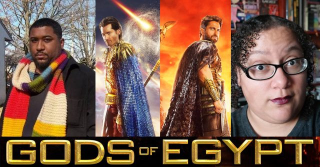 Gods of Egypt hatewatch image showing a picture of scott woods next to images of the actors from the movie next to an image of tempest