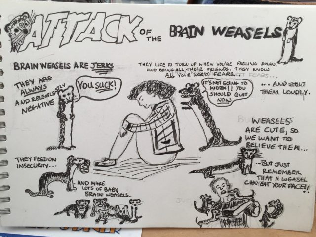 attack of the brain weasels comic by Dr Jane Charlesworth