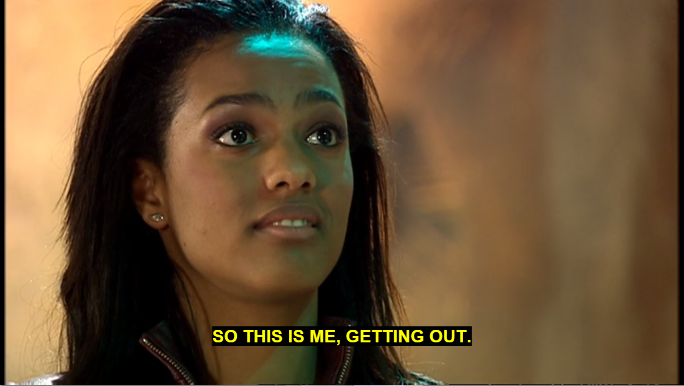 Martha Jones in the TARDIS saying This is me getting out