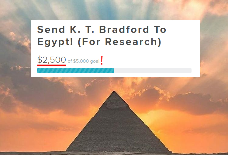 a picture of the great pyramid of egypt with sunrays emananting up to a golden sky behind it and text showing that I am halfway to my goal superimposed
